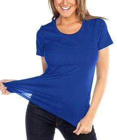 Another great find on #zulily! Cobalt Blue Crewneck Short Sleeve Tee #zulilyfinds