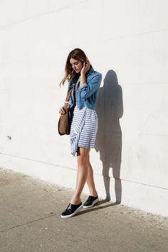 The Fifth denim jacket, Nautica stripe skirt, slip on sneakers