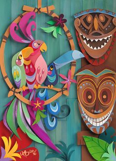 Nothing like a birdie serenade to welcome you to the enchantment of this little Tiki Tiki Tiki room! This print is a digital reproduction of an artwork piece originally made with paper-cut techniques. Its printed on museum quality fine art paper. Its numbered and signed by me! The actual image measures 8 X 10 (20 cm X 25 cm) Thank you for stopping by