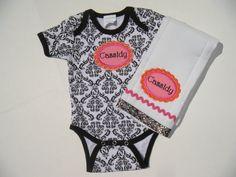 Personalized Damask Onesie and Burp Cloth Set by bushelandpeckbaby, $25.00