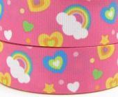 Pink Rainbow 7/8 22mm Printed Grosgrain Ribbon