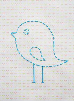 Adorable bird stencil.  What a cute idea!  A rainbow would be sweet too.
