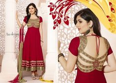 Maroon embroidered Viscose semi-stitched salwar with dupatta
