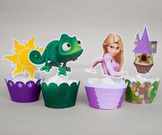 Sale!! Tangled Cupcake Wrapper Set, Printable for Rapunzel Birthday, Tangled Birthday Party