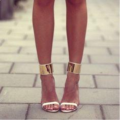 Gold Cuffed Heels .