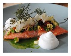 Mt. Cook Alpine salmon with arugula emulsion and coconut foam.