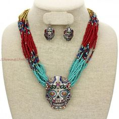 Turquoise Red Colorful Bead Necklace Accent Big Silver Sugar Skull Pendant Earrings Jewelry Set