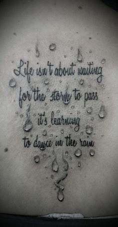 Raindrop Tattoo design with a quote
