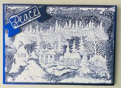 embossing folder with Distress Ink added to folder. Sentiment from Tonic via Die Cutting Essential magazine. Tonic Christmas Cards, Christmas Cards 2017, Christmas Scenes, Xmas Cards, Christmas Greetings, Holiday Cards, Greeting Cards, Fall Cards, Winter Cards