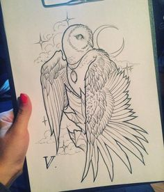 Tattoo Совушка - tattoo's photo In the style Graphics, Anima Owl Tattoo Drawings, Dark Art Drawings, Outline Drawings, Pencil Art Drawings, Bunny Tattoos, Cute Tattoos, Body Art Tattoos, Animal Sketches, Animal Drawings