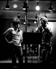 """Mick Jagger and Keith Richards in the studio during the recording of Exile on Main Street"""" LA., 1972. Photo by Jim Marshall."""
