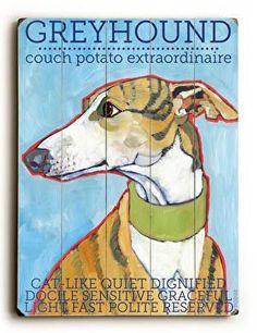 Greyhound Wood Sign