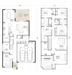 Garland plan ausbuild when i saw the long hallways i didn't Family House Plans, New House Plans, Dream House Plans, Small House Plans, House Floor Plans, Double Storey House Plans, Narrow House Designs, Planer Layout, House Construction Plan
