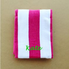 Monogrammed Beach / Pool Towel - You Pick Personalization Style! Pink, Blue, Green, or Mint Stripes! by YardstickAndCo on Etsy