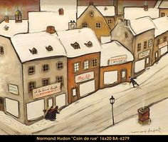 Original mixed media painting by Normand Hudon New BOOK available November 9 2014 #hudon #art #caricaturist #village #winterscene #mixedmedia #canadianartist #quebecartist #originalpainting #balcondart #multiartltee