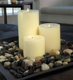 candles with stones are great accents on the coffee table.  Change stone colors depending on seasons!