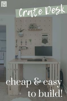 Are you in love with this wood crate desk? Get all the details on how to build your own with this step by step tutorial! #tutorial #easy #desk #desks #apartment Diy Projects Using Wood, Crate Desk, Wood Putty, Desk Areas, Home Desk, Wood Crates, Diy Desk, Desks, Woodworking Projects