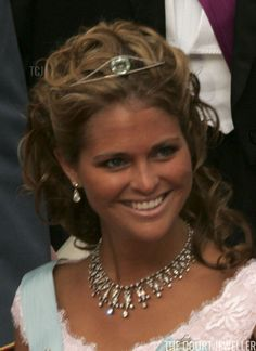 Royal Tiaras: Princess Madeleine of Sweden wears the Swedish Aquamarine Bandeau Royal Tiaras, Royal Jewels, Tiaras And Crowns, Princess Madeleine, Crown Princess Mary, Birthday Tiara, Royal Dresses, Swedish Royals, Royal Weddings