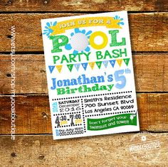 Golf Pool Party invitation birthday pool party by myooakboutique