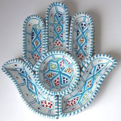 Hamsa Tunisian Ceramic Turquoise from The Souk. Shop more products from The Souk on Wanelo. Ceramics Projects, Clay Projects, Ceramic Clay, Ceramic Pottery, Hamsa Art, Hand Of Fatima, Jewelry Holder, Clay Art, Turquoise