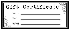 Amazing Printable Gift Certificates For Homemade Gifts.  Homemade Gift Certificate Templates