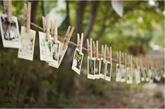 Erica Brand posted Photo garland with clothes pins - super cute! to her -wedding- postboard via the Juxtapost bookmarklet. Woodsy Wedding, Diy Wedding, Wedding Day, Eclectic Wedding, Wedding Blog, Must Have Wedding Pictures, Wedding Photos, Photo Garland, Diy Outdoor Weddings