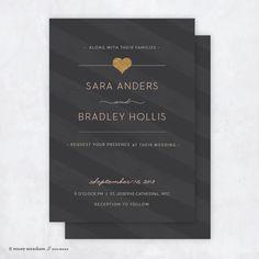 Wedding invitation // Wedding invitation suite // Flat wedding invite // Wedding // Heart of gold. $90.00, via Etsy.