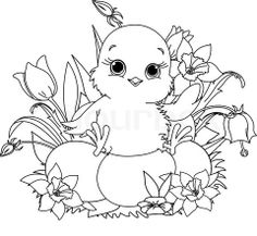 Image Detail for - Stock vector of 'Newborn chick sitting on Easter eggs . Coloring page'