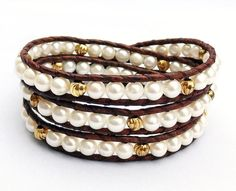 White Freshwater Pearl Leather Bracelet, Gold and Pearl Jewelry on Etsy, $52.00 CAD