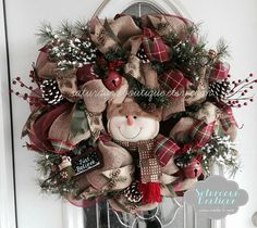 Custom wreaths and Home Decor by SaturdaysBoutique Christmas Mesh Wreaths, Christmas Swags, Christmas Decorations, Winter Wreaths, Hanging Decorations, Christmas 2014, Christmas Ideas, Xmas, Primitive Christmas