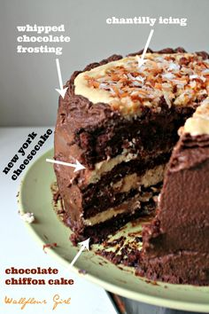 Hawaiian Chantilly Layer Cheesecake Cake with Whipped Chocolate Frosting Whipped Chocolate Frosting, Chocolate Chiffon Cake, Chocolate Cakes, Layer Cheesecake, Cupcake Cakes, Cupcakes, Classic Cake, Cake Batter, Just Desserts