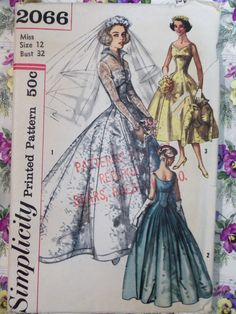 FABULOUS Vintage 1957 Simplicity 2066 WEDDING Dress pattern size 12 COMPLETE; jacket pattern is perfect for an evil queen costume