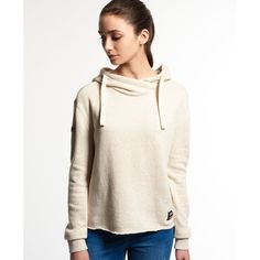 Superdry Marl Crop Hoodie (180 RON) ❤ liked on Polyvore featuring tops, hoodies, cream, fleece lined hooded sweatshirt, sweatshirt hoodies, fleece lined hoodie, lightweight hoodies and white hooded sweatshirt