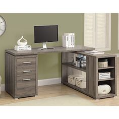 $325 Costco - Dylan Corner Desk Dark Taupe Reclaimed Wood-Look