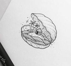 Peta Heffernan Instagram Small Drawings, Ink Pen Drawings, Cool Drawings, Cute Owl Drawing, Beach Drawing, Geometry Art, Nature Drawing, Beginner Painting, Small Art
