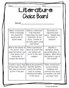 Writing 2: Student's Choice Board. Print out a copy of board for each student.  Use with chapter books or other books and have students select something off the board for each chapter-- something different for each chapter.  Could be compiled into a booklet or writing journal. Good for middle elementary through middle-school.