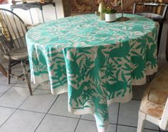 otomi table cloth teal ready to ship 74 x 69 cyan by arteotomi