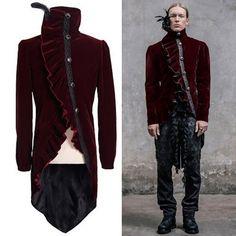 Burgundy Velvet Victorian Gothic Dress Tail Jackets Trench Coats Men SKU-11401820