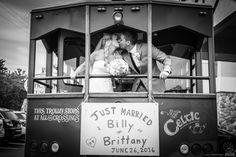 Just Married bride and groom kiss on trolley #Michiganwedding #Chicagowedding #MikeStaffProductions #wedding #reception #weddingphotography #weddingdj #weddingvideography #wedding #photos #wedding #pictures #ideas #planning #DJ #photography #bride #groom