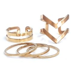 STAXX Chevron Midi Ring Set Of Five ($52) ❤ liked on Polyvore featuring jewelry, rings, mid knuckle rings, chevron jewelry, gold plated ring, 24k jewelry and 24k ring
