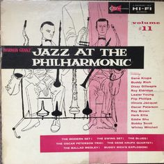 Jazz at the Philharmonic - Vol. 11 on the Clef label (1957). Cover art and design by David Stone Martin.
