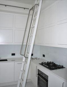 mm-furniture - bespoke kitchen ladder system, sprayed in white.