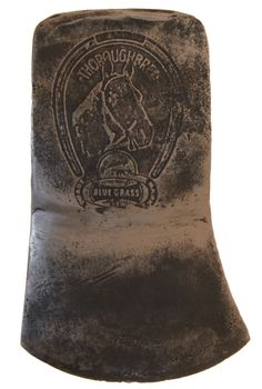 """A """"Thoroughbred"""" axe by the Belknap Hardware Company, Louisville, Kentucky with horse logo."""