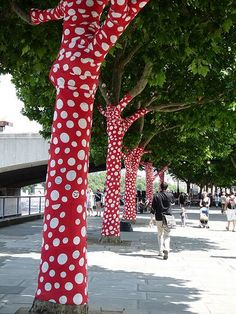 Red polka dot trees