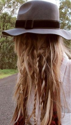 Fedora hats and boho plaits- perfect for school (but maybe minus the hat) ☺️