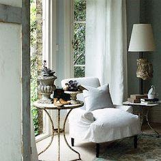 cottage sitting area,   French doors, windows, white