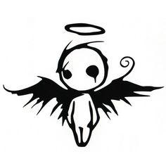 Fallen Angel – Graffiti World Creepy Drawings, Cute Drawings, Tattoo Drawings, Drawing Sketches, Gothic Drawings, Kunst Tattoos, Body Art Tattoos, Fallen Angel Tattoo, Angel Devil Tattoo