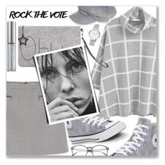 """""""ROCK THE VOTE"""" by shoaleh-nia ❤ liked on Polyvore featuring MANGO, Converse, Urban Decay and Nine West"""