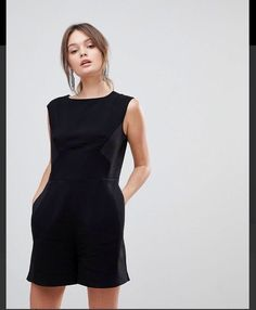 25dfa61d620f Reiss Womens Maia Romper Size 4 Black Cotton Short Sleeve pockets  fashion   clothing