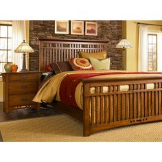 Broyhill Artisan Ridge Slat Bed - Queen Size.Clean lines and arts and crafts styling make this transitional bed a stylish and unique addition to any bedroom. Beautiful quartered oak veneers in a hand-rubbed nutmeg finish create a warm, inviting bedroom retreat that you are sure to love for years to come. Available in Queen, King, and California King sizes. $659.53.